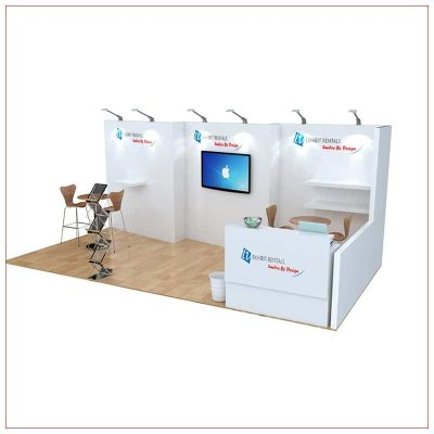 10x20 Trade Show Booth Rental Package 252 - Angle View - LV Exhibit Rentals in Las Vegas