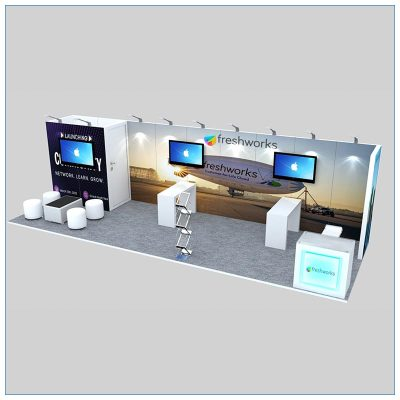 10x30 Trade Show Booth Rental Package 308 - Angle View- LV Exhibit Rentals in Las Vegas