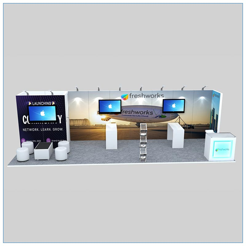10x30 Trade Show Booth Rental Package 308 - Front View- LV Exhibit Rentals in Las Vegas