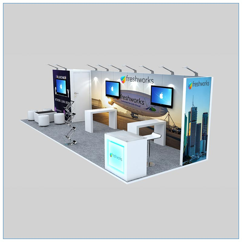 10x30 Trade Show Booth Rental Package 308 - Side View- LV Exhibit Rentals in Las Vegas