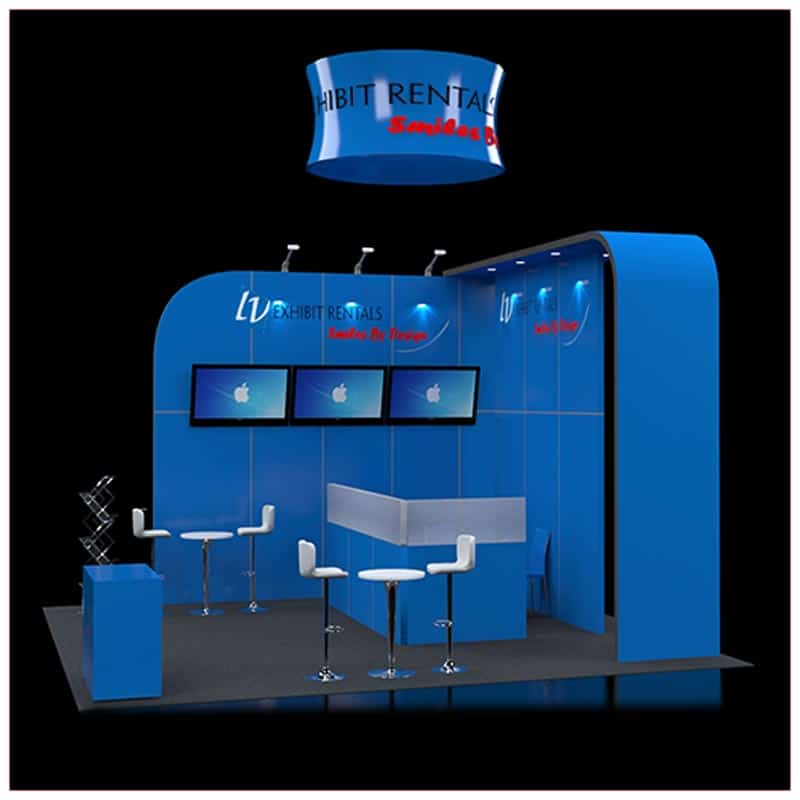 20x20 Trade Show Booth Rental Package 421 - Side View - LV Exhibit Rentals in Las Vegas