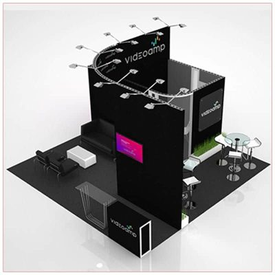20x20 Trade Show Booth Rental Package 423 - Front Angle View - LV Exhibit Rentals in Las Vegas