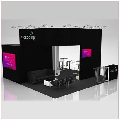 20x20 Trade Show Booth Rental Package 423 - Front View - LV Exhibit Rentals in Las Vegas
