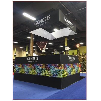 20x20 Trade Show Booth Rental Package 424 - Rear View - LV Exhibit Rentals in Las Vegas