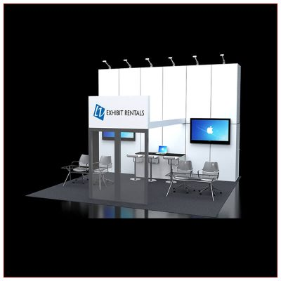 20x20 Trade Show Booth Rental Package 425 - Angle View - LV Exhibit Rentals in Las Vegas