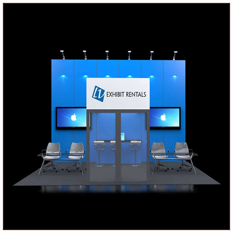 20x20 Trade Show Booth Rental Package 425 - Front View - LV Exhibit Rentals in Las Vegas