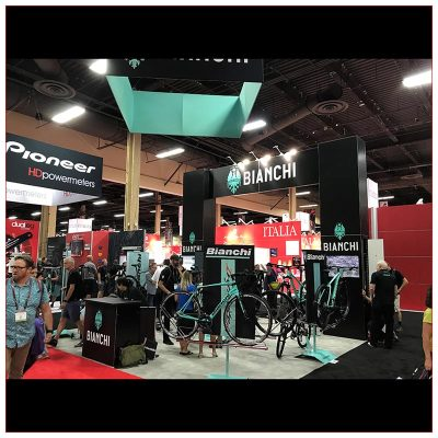 20x20 Trade Show Booth Rental Package 426 - Bianchi - Front View - LV Exhibit Rentals in Las Vegas