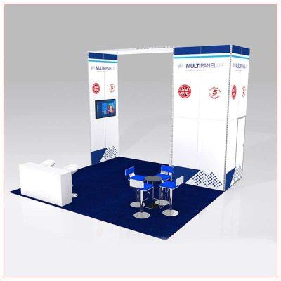 20x20 Trade Show Booth Rental Package 427 - Angle View - LV Exhibit Rentals in Las Vegas