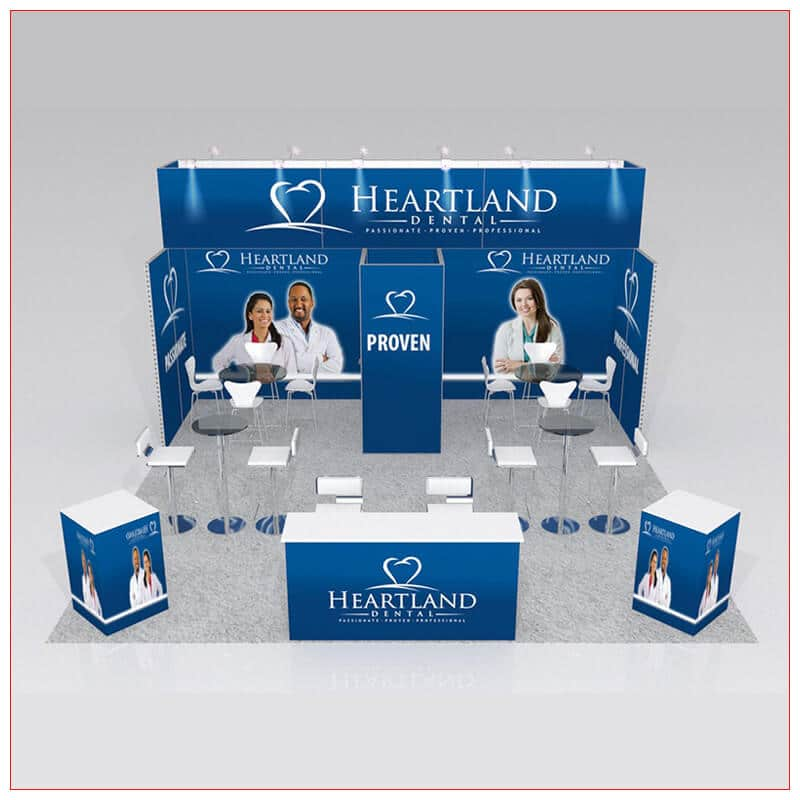 20x20 Trade Show Booth Rental Package 428 - Front View - LV Exhibit Rentals in Las Vegas