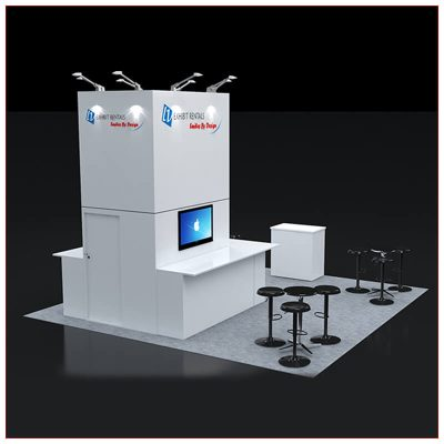 20x20 Trade Show Booth Rental Package 429 - Angle View 2 - LV Exhibit Rentals in Las Vegas