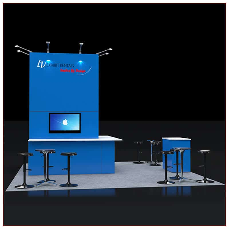 20x20 Trade Show Booth Rental Package 429 - Angle View - LV Exhibit Rentals in Las Vegas