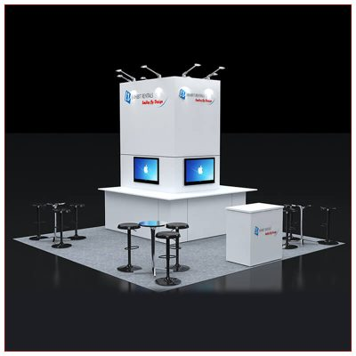 20x20 Trade Show Booth Rental Package 429 - Front View - LV Exhibit Rentals in Las Vegas