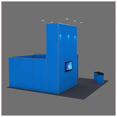 20x20 Trade Show Booth Rental Package 430 - Angle View - LV Exhibit Rentals in Las Vegas