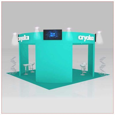 20x20 Trade Show Booth Rental Package 432 - Angle View - LV Exhibit Rentals in Las Vegas
