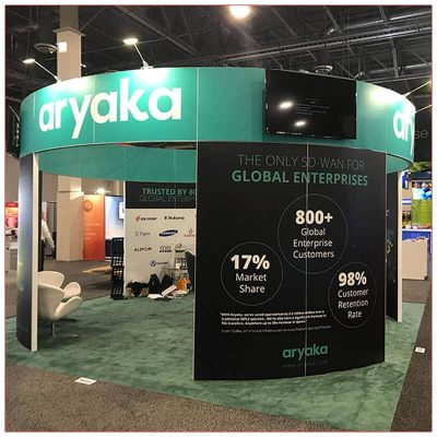 20x20 Trade Show Booth Rental Package 432 - Aryaka - LV Exhibit Rentals in Las Vegas