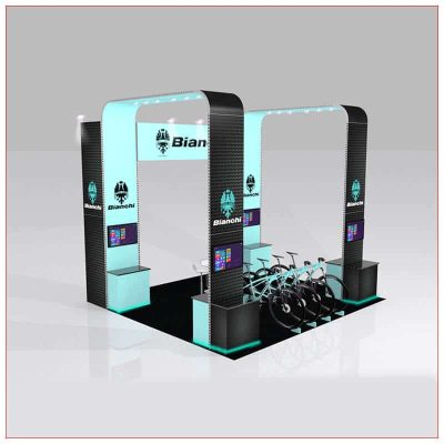 20x20 Trade Show Booth Rental Package 435 - Angle View - LV Exhibit Rentals in Las Vegas