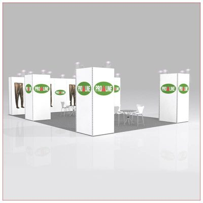 20x20 Trade Show Booth Rental Package 438 - Angle View - LV Exhibit Rentals in Las Vegas