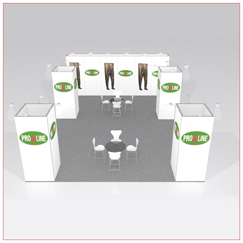 20x20 Trade Show Booth Rental Package 438 - Front View - LV Exhibit Rentals in Las Vegas