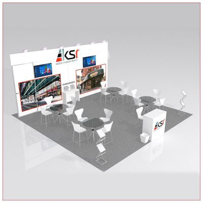 20x20 Trade Show Booth Rental Package 441 - Angle View - LV Exhibit Rentals in Las Vegas