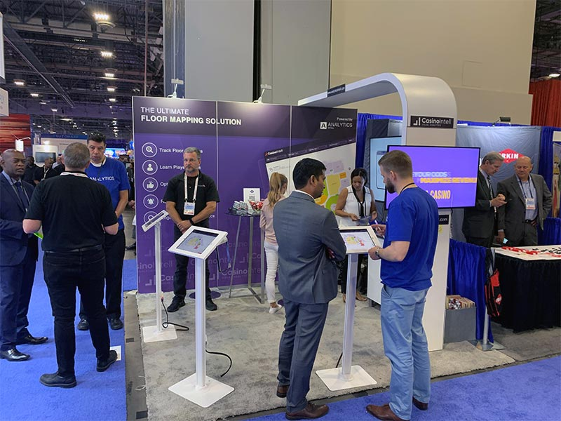 Analytics Intel - 10x10 Trade Show Booth Rental Package 100 - Front View - LV Exhibit Rentals in Las Vegas