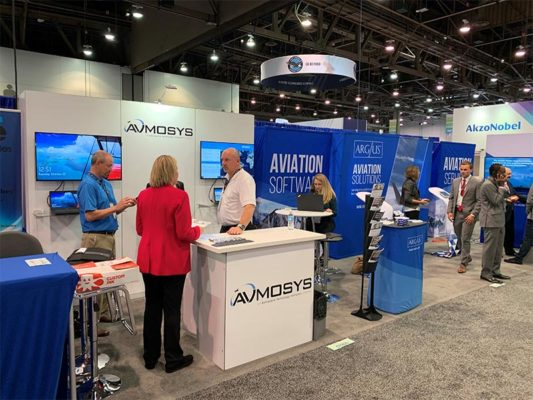 Avmosys - 10x10 Trade Show Exhibit Rental Package 120 Customized - NBAA 2019 - LV Exhibit Rentals in Las Vegas