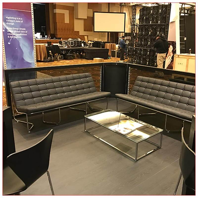 20x20 Trade Show Booth Rental Package 434 - Lounge Seating Area - LV Exhibit Rentals in Las Vegas