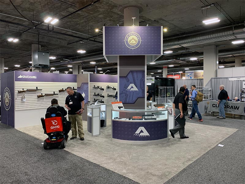 20x20 Trade Show Booth Rental Package 437 - AIM Shot Show - LV Exhibit Rentals in Las Vegas