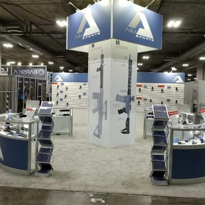 20x20 Trade Show Booth Rental Package 437 - AIM - Side View - LV Exhibit Rentals in Las Vegas