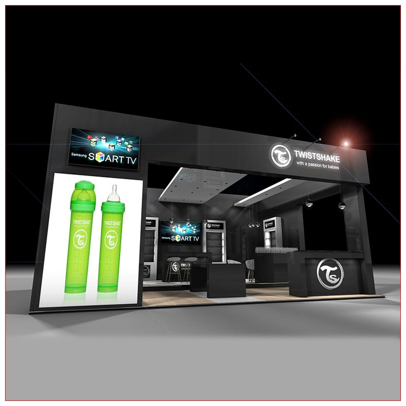 20x20 Trade Show Booth Rental Package 440 - Front View - LV Exhibit Rentals in Las Vegas