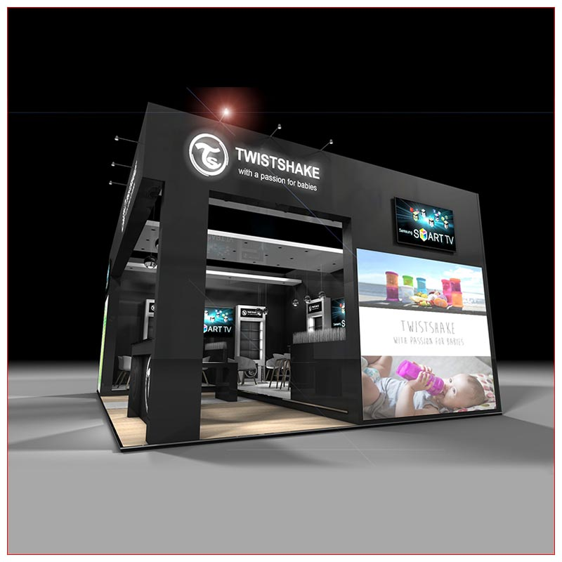 20x20 Trade Show Booth Rental Package 440 - Side View - LV Exhibit Rentals in Las Vegas