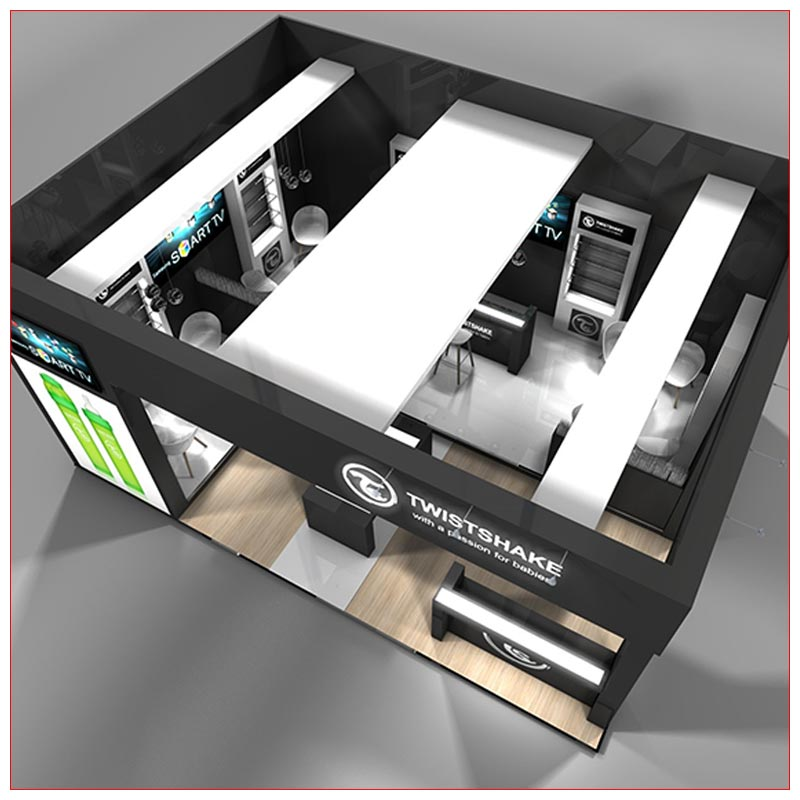 20x20 Trade Show Booth Rental Package 440 - Top-Down View - LV Exhibit Rentals in Las Vegas