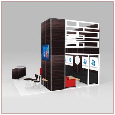 20x20 Trade Show Booth Rental Package 442 - Angle View - LV Exhibit Rentals in Las Vegas