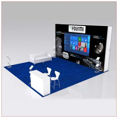 20x20 Trade Show Booth Rental Package 443 - Angle View - LV Exhibit Rentals in Las Vegas
