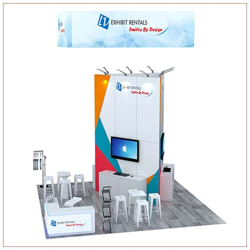 20x20 Trade Show Booth Rental Package 444 - Front View - LV Exhibit Rentals in Las Vegas