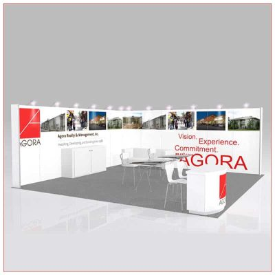 20x20 Trade Show Booth Rental Package 446 - Angle View - LV Exhibit Rentals in Las Vegas