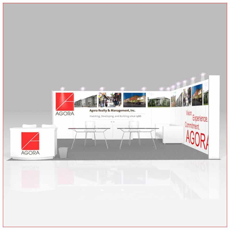 20x20 Trade Show Booth Rental Package 446 - Front View - LV Exhibit Rentals in Las Vegas