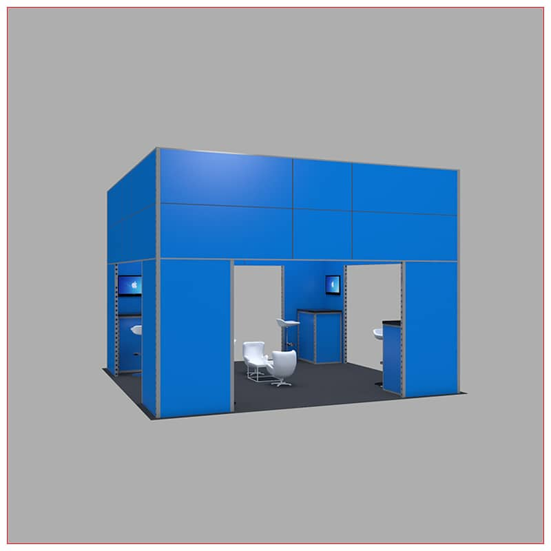 20x20 Trade Show Booth Rental Package 448 - Angle View - LV Exhibit Rentals in Las Vegas