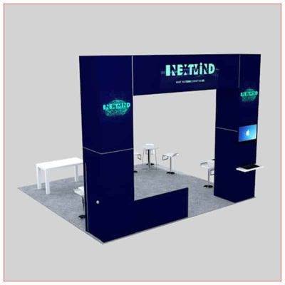 20x20 Trade Show Booth Rental Package 450 - Angle View - LV Exhibit Rentals in Las Vegas