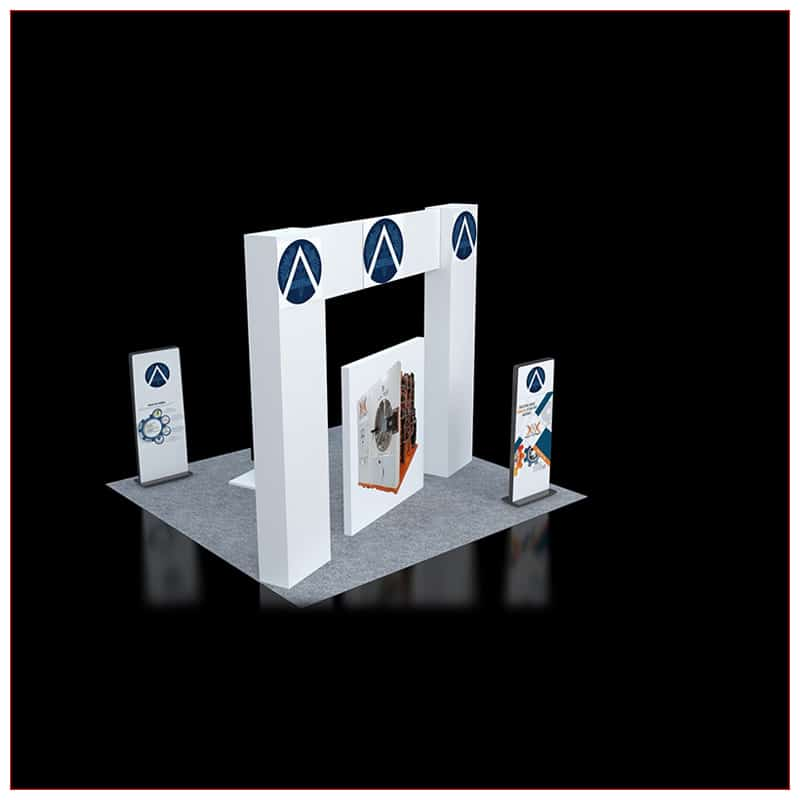 20x20 Trade Show Booth Rental Package 451 - Angle View - LV Exhibit Rentals in Las Vegas