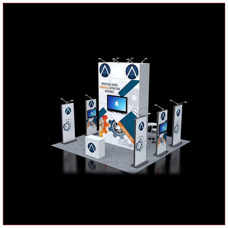 20x20 Trade Show Booth Rental Package 452 - Angle View - LV Exhibit Rentals in Las Vegas