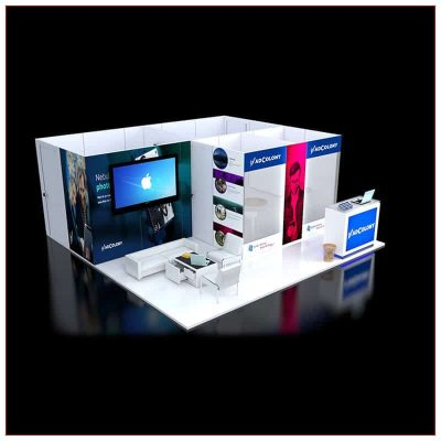 20x20 Trade Show Booth Rental Package 454 - Angle View - LV Exhibit Rentals in Las Vegas