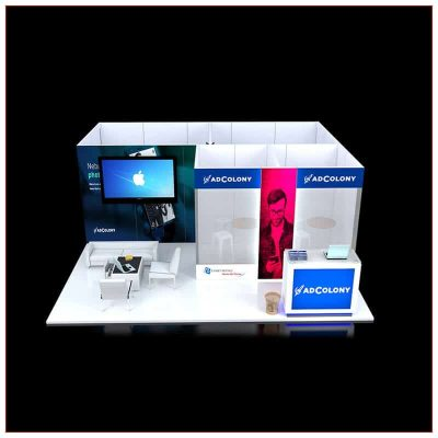 20x20 Trade Show Booth Rental Package 454 - Front View - LV Exhibit Rentals in Las Vegas