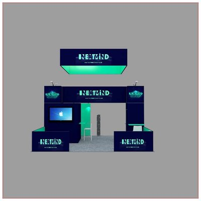 20x20 Trade Show Booth Rental Package 455 - Front View - LV Exhibit Rentals in Las Vegas