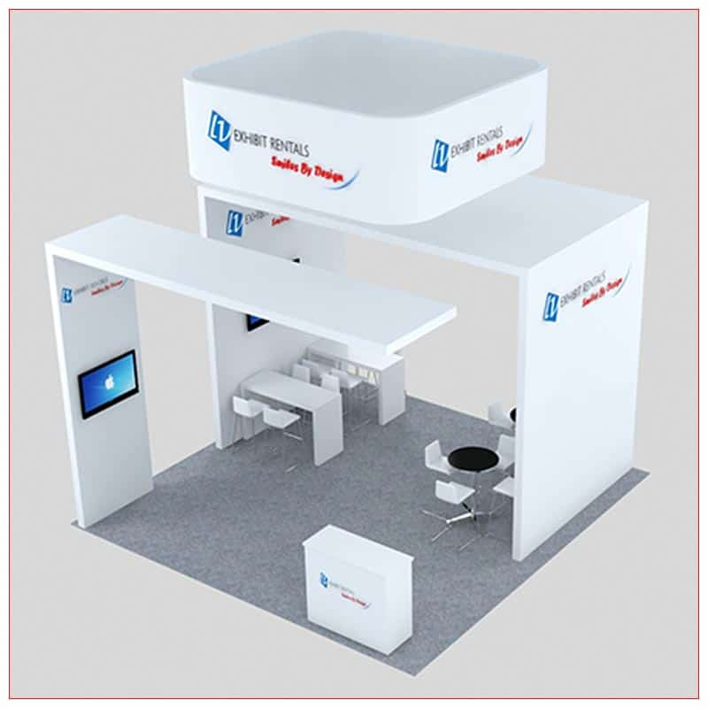 20x20 Trade Show Booth Rental Package 456 - Front Angle View - LV Exhibit Rentals in Las Vegas