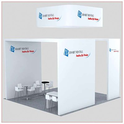 20x20 Trade Show Booth Rental Package 456 - Rear Angle View - LV Exhibit Rentals in Las Vegas