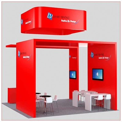 20x20 Trade Show Booth Rental Package 456 - Rear View - LV Exhibit Rentals in Las Vegas
