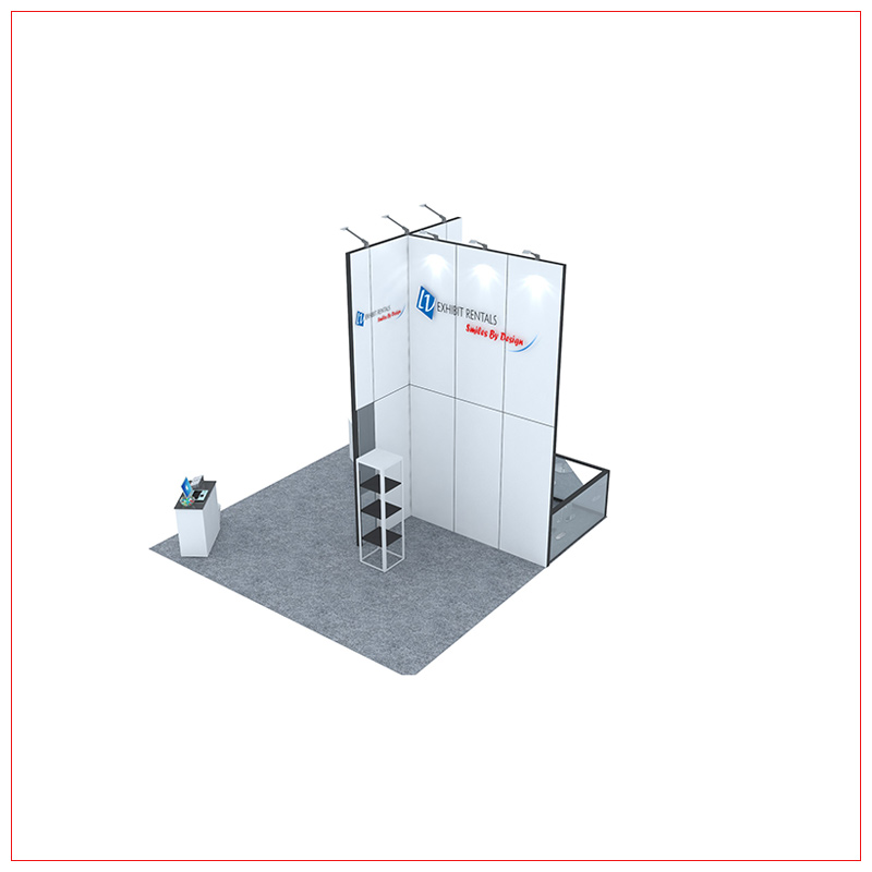 20x20 Trade Show Booth Rental Package 462 - Angle View - LV Exhibit Rentals in Las Vegas