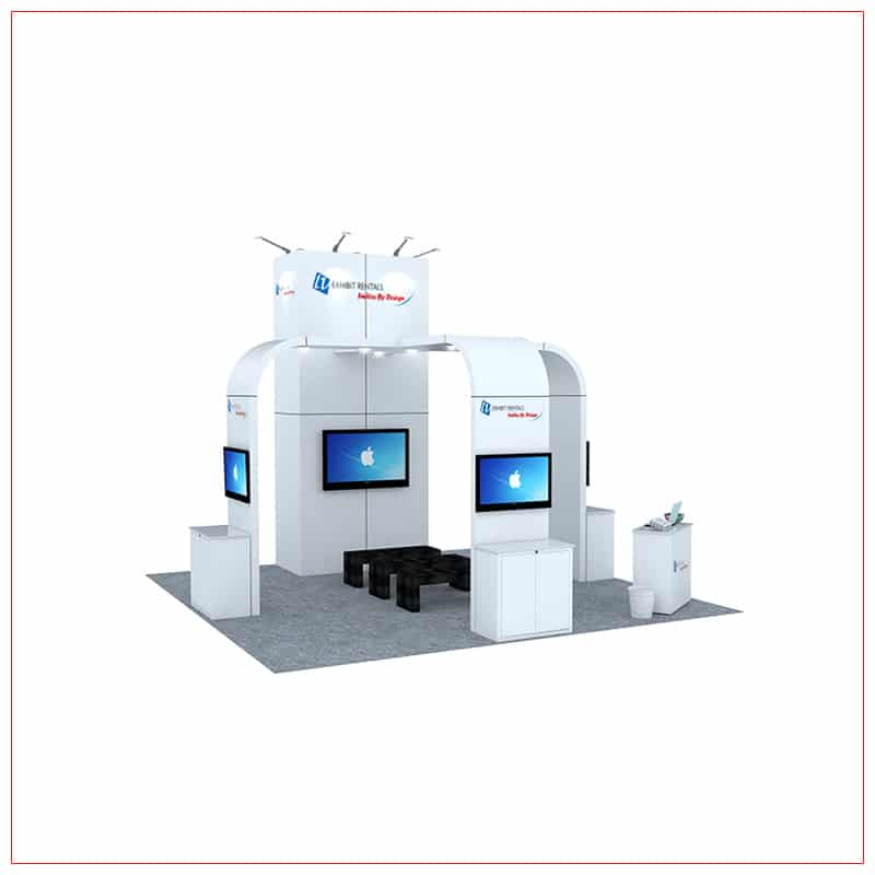 20x20 Trade Show Booth Rental Package 464 - Angle View - LV Exhibit Rentals in Las Vegas