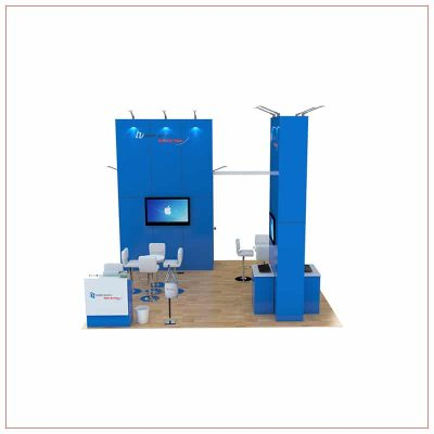 20x20 Trade Show Booth Rental Package 465 - Angle View - LV Exhibit Rentals in Las Vegas