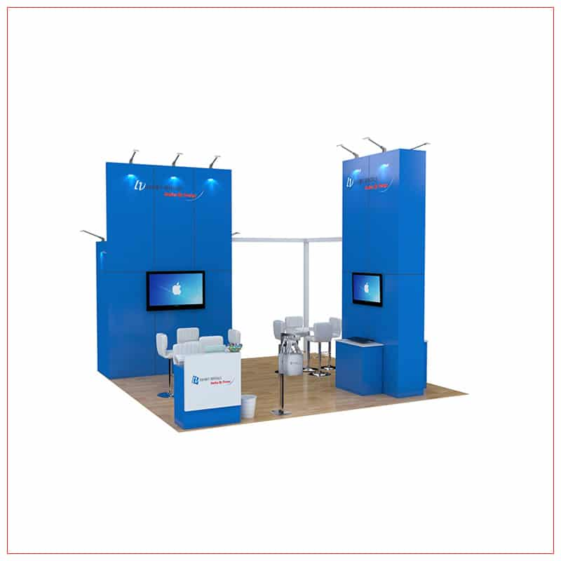 20x20 Trade Show Booth Rental Package 465 - Front View - LV Exhibit Rentals in Las Vegas